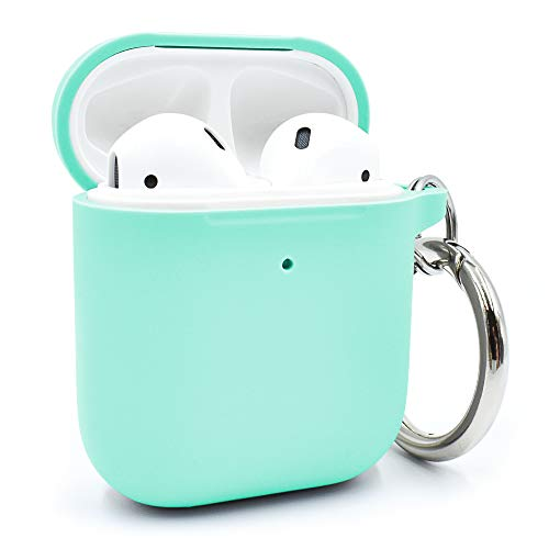G-Armor Silicone Case for AirPods 1 & 2 - Rubber Wireless Charging Protective Skin/Basic and Simple AirPods Case Accessories with Ring Loop Keychain - Turquoise/Green