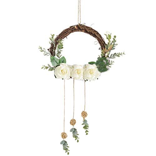 PRETYZOOM Muur Opknoping Bloemen Hoepel Kunstmatige Pioen Slinger Voordeur Garland Hanger Voor Thuis Keuken Bruiloft Muur Kunst Achtergrond Decoratie (Wit)