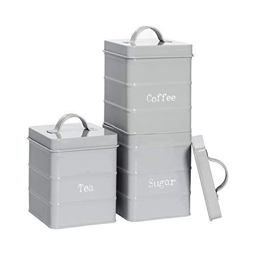 Harbour Housewares 3 Piece Industrial Tea Coffee Sugar Canister Set - Vintage Style Steel Kitchen Storage Caddy with Lid - Grey