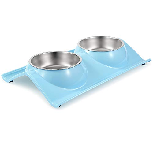 UPSKY Double Dog Cat Bowls Premium Stainless Steel Pet Bowls No-Spill Resin Station, Food Water Feeder Cats Small Dogs (Lake Blue)
