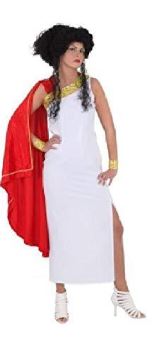 narrenkiste O1079-42-A - Disfraz de romano para mujer, talla 42, color blanco y rojo