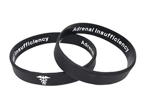 Butler & Grace Adrenal Insufficiency Silikon Medizinische Armband Mit Versteckte Nachricht. Adrenal Insufficiency Notfall Armband fur Herren Damen Schwarz Weiss 8 Zoll 202 mm