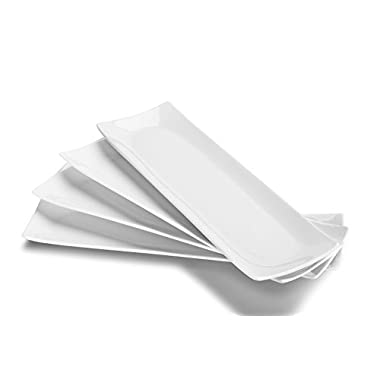 DOWAN 14-Inch Porcelain Serving Plates/Rectangular Platters, Set of 4, Classic White