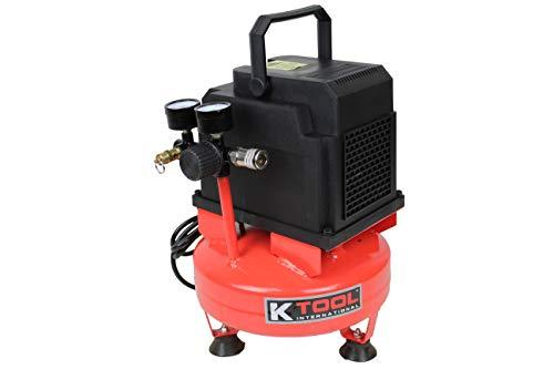 K Tool International Oil Free Pancake Air Compressor; 1-Gallon 1/3 HP, Max 100 PSI, Lightweight 18LB Design; KTI89021
