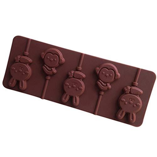 YIYAO Moule en Silicone 6 Singe Lapin Forme Animale Bricolage Chocolat Sucette Moule Réutilisable Outils De Cuisson Accessoires De Cuisine