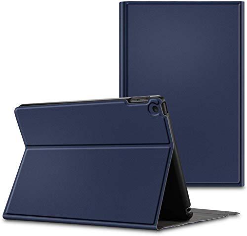 ipad キーボード ケース 10.2 iPad 10.2 インチ 第7世代 薄いレザーケース付き Bluetooth キーボード スタンド カバー 対応型番 A2200 A2198 A2197 (ネイビー)