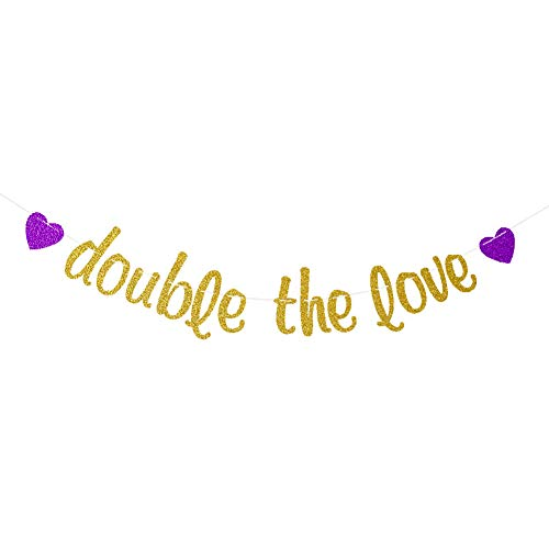 Double The Love Banner Pink, Twins Baby Shower Party Decor, Gender Reveal Party Bunting, Twins Birthday Party Photo Props, Gold Glitter