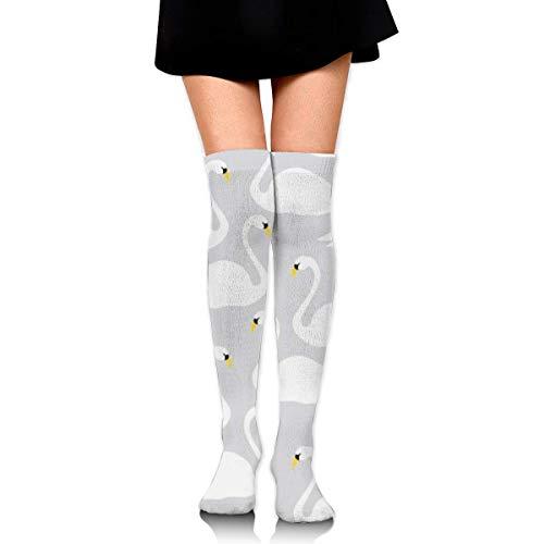 COPAUL Girl's Over Knee Tube Socks Swan Gray,Accessory for Costume Roleplay