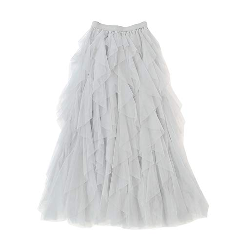 Falda Larga De Tul Fiesta De Tutú para Mujer Plisadas Faldas Cintura Elástica Blanco Un tamaño