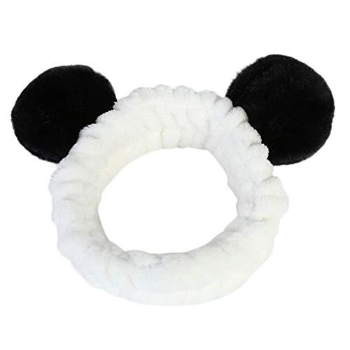 Tonsi Bandeau Cheveux Femme Maquillage Bandeau Cheveux Kawaii Bandeau Cheveux Panda Cute Hair Accessoires élastique (Noir)