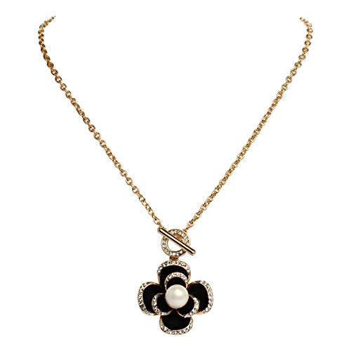 Fashion jewelry designer statement enamel rhinestone camellia flower faux pearl charm pendant necklace for women (Black)