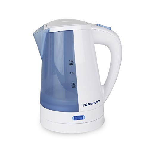 Orbegozo KT 5010 - Hervidor de agua electrico, 1 litro de capacidad, apagado automatico o manual, base giratoria 360 grados, rapida ebullicion