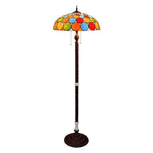 Tiffany-stijl vloerlamp, glazen schilderij lampenkap staande lamp voor woonkamer slaapkamer cafébar, tafellamp antieke basis