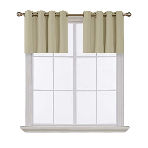 Deconovo Beige Valances for Window Kitchen Valance Grommet Tier Curtains for Living Room 52x18 Inch 2 Panels