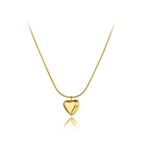 YioKpro Romántico Titanio Acero Inoxidable Encantador corazón Encanto Collares joyería 3D Colgante Collar de Cadena de Serpiente para Mujer