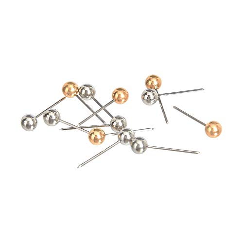 AmazonBasics Push Pins Map Tacks, Plastic Head, Steel Point, Gold & Silver, 100-Pack