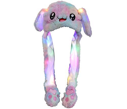 Alsino Niedliche Hasenmütze LED Häschen Wackelohren Mützen mit beweglichen Plüsch Ohren Happy Ears zum Drücken Hut Spielzeug mit Licht (Hase weiß)