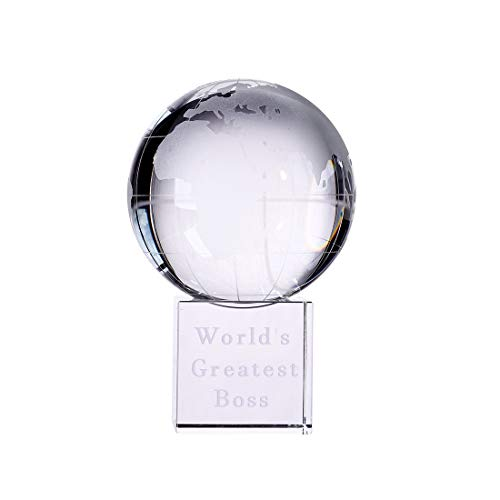 "LONGWIN World's Greatest Boss 2.76"" Crystal Globe Awards - Gifts for Boss Unique Bosses Day Birthday Christmas Thanks Giving Day Gift for Boss"
