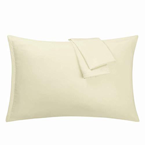 N/D - Juego de 2 fundas de almohada de microfibra, serie 1800 con cremallera, plis, decoloración, crema antimanchas Queen (20'x 30')