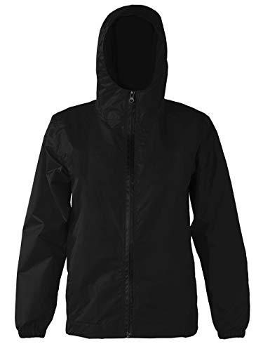 Kinder Regenjacke Reißverschluss Wasserdichter Regenmäntel mit Taschen Mädchen Jungen Raincoat Schwarz XL
