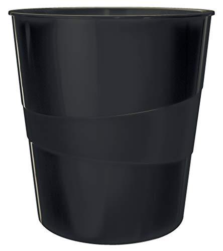 Leitz Papierkorb, 15 L, 100% recyclebar, Klimaneutral, Blauer Engel zertifiziert, Recycle-Serie, Schwarz, 53280095