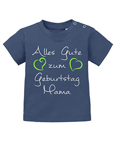 Comedy Shirts - Alles Gute zum Geburtstag Mama - Baby T-Shirt - Navy/Weiss-Neongrün Gr. 92/98