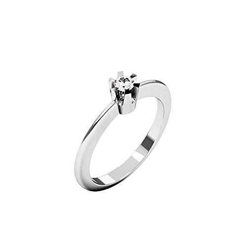 QUIMERA JEWELRY OL Anillo Solitario Oro Blanco 14kt con Diamante 0,11ct | Anillo Compromiso Oro Blanco y Diamante, Talla 14