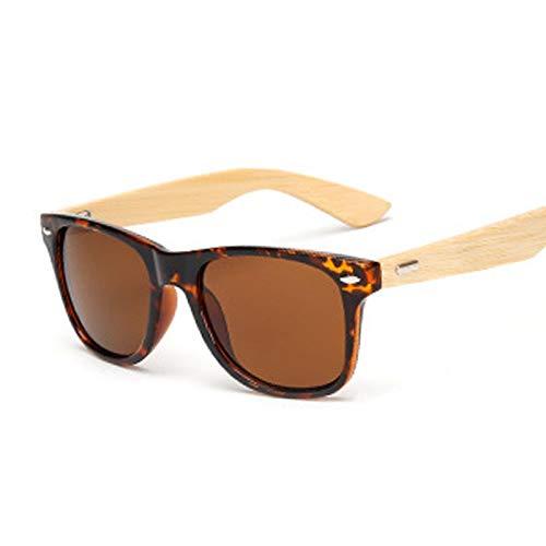 YOULIER Gafas de sol cuadradas para hombre, unisex, diseño retro, color bambú, color amarillo