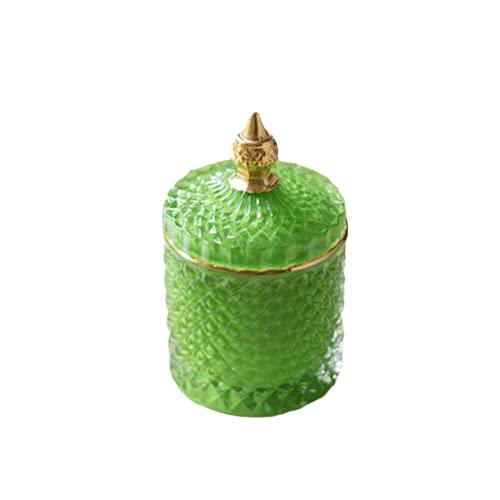 ZHKP Almacenamiento de cristal de color europeo 600 ml latas de azúcar enlatadas Diamond Candy Box Caja de algodón para hisopo de algodón Pad de almacenamiento para el hogar (verde, 8,514 cm)