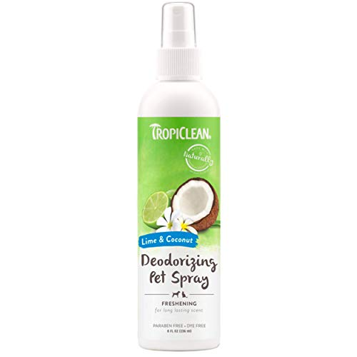 TropiClean Lime & Coconut Deodorizing Spray for Pets, 8oz - Made in USA - Helps Break Down Odors to Effectively Deodorize Dogs and Cats, Paraben Free, Dye Free, Clear, Model:TRLMSP8Z
