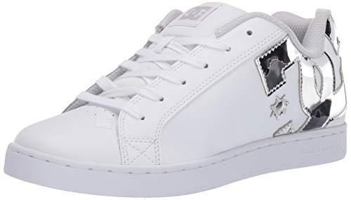 DC Women's Court Graffik Skate Shoe, White/Silver, 8 B M US