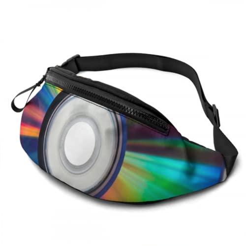 ALALAL Bolsas de Cintura Mochila de día con Efectos de refracción de Colores en DVD con Conector para Auriculares y Bolsa de Correas Ajustables Mochila de Cintura para Viajes, Deportes, Senderismo