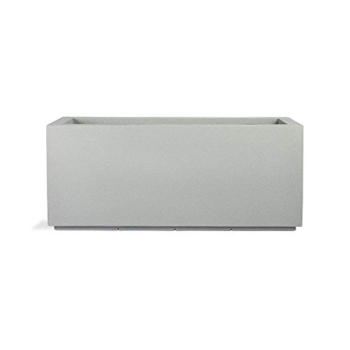 PolyStone Milan Tall Modern Outdoor/Indoor Rectangular Trough Planter, Lightweight, Heavy Duty, Weather Resistant, Polymer Finish, Commercial and Residential, 46' W x 19' H (Concrete Gray)