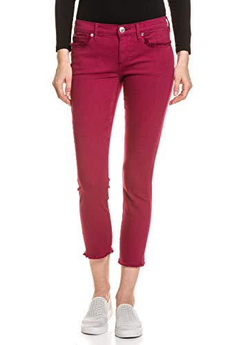 True Religion Women's Halle Midrise Super Skinny Crop, Merlot, 27