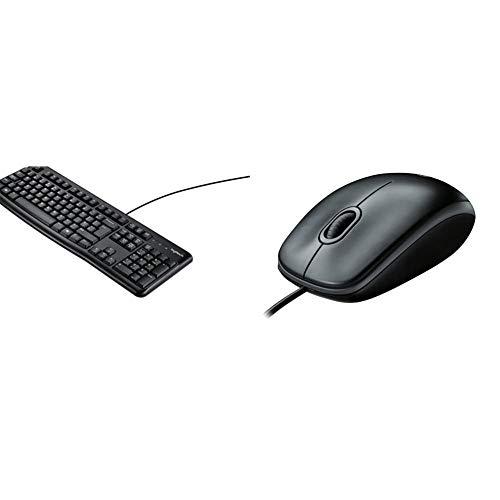 Logitech k120 tastiera cablata business per windows/linux, usb, tasti silenziosi, anti schizzi & b100 mouse usbcablato, 3 pulsanti, rilevamento ottico, ambidestro