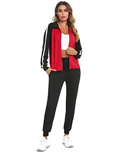 Doaraha Chándal para Mujer 2 Piezas Chaquetas + Pantalones Casual Raya Conjunto...
