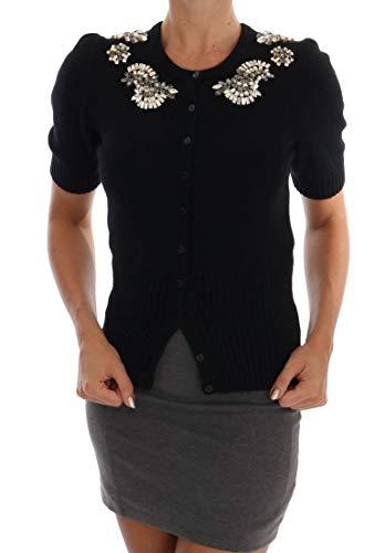 Dolce & Gabbana - - All - Dolce & Gabbana Black Cashmere Crystal Cardigan Sweater - IT38|XS