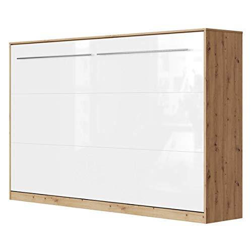 SMARTBett Standard 120x200cm Horizontal Roble Salvaje/Blanco Alto Brillo Cómodo | Cama Abatible, Cama De Pared, Cama Plegable, Cama Oculta
