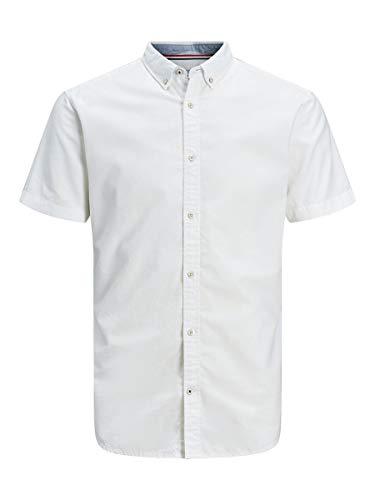 Jack & Jones Jjesummer Shirt S/s S20 STS Camisa, Blanco, S para Hombre