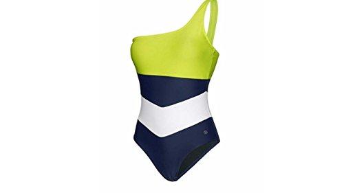 Bogner Fire + Ice Damen Badeanzug Modell: Sylvie Farbe: Blau/Weiß/Neongelbgrün Gr. 34 Swimmsuit