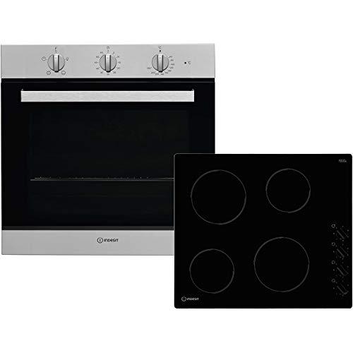 Indesit K002979 Oven & Hob Pack - Stainless Steel / Black