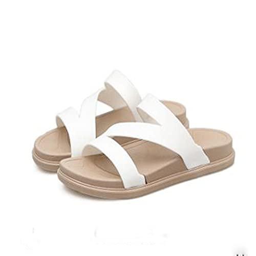 Summer Flip Flops Platform Slippers Dames Non-Slip Wear Resistent PVC Beach Fashion Flat Bottom Ladies Sandalen en Slippers voor buitenkleding,White,10