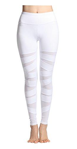 Lotus Instyle Damen Sports Leggings Yoga Laufen Hose mit Netze (XL, White)