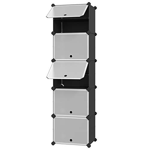 SONGMICS Interlocking Shoe Rack with Door Storage Organizer Unit with Hooks 10 Slots Modular DIY Storage Shelf Closet Divider for Clothes Bags Toys Black ULPC503B01