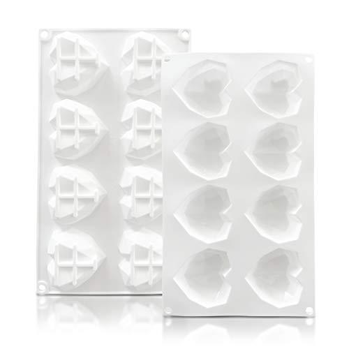 KITCHENATICS Stampi in Silicone Cuore Diamante – Stampi 3D in Silicone A Cuore Geometrico Stampo...