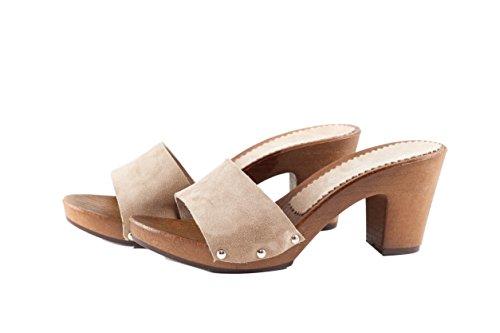 Silfer Shoes - Zueco de piel de ante color polvo, art. Noemi - Ideal también para estar en casa Beige Size: 37 EU