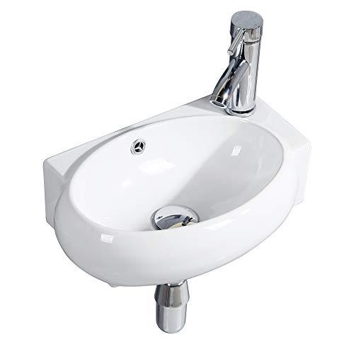 Handwaschbecken Klein, Gimify Mini Waschbecken WC zur Wandmontage aus Keramik Bad, Oval