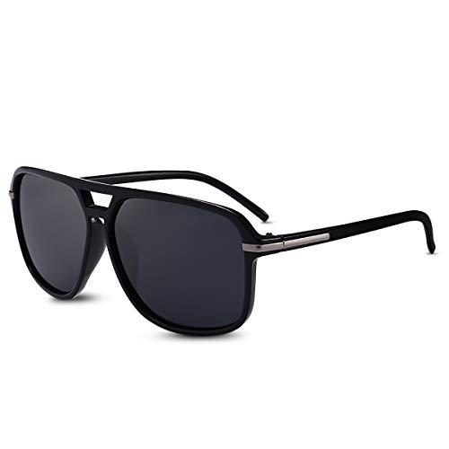 LumiSyne Moda Occhiali Da Sole Polarizzati Uomo Occhiali Da Sole Guida Ultra Leggero Montatura Quadrata Doppio Ponte UV 400 All'Aperto Viaggio Sport Regalo Nero