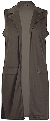 Paarse Hanger Womens Plus Size Mouwloze Dames Waterval Zakkraag Lange Taillejas Blazer Top