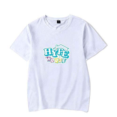 LYJNBB Femme Homme T-Shirts The Hype Maison, Manches Courtes Sweat-Shirt Bonne Fan Vidéo ami Vêtements Vêtements,Blanc,XXL